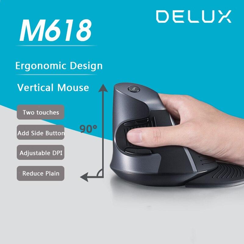 Ergonômico sem Fio Ratos para Computador Delux Rato Vertical Óptico Mause 800 – 1200 1600 Dpi 5d Computador Jogos Portátil Gamer M618 Usb