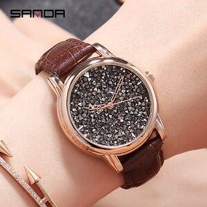 SANDA женские часы с бриллиантами, черные стразы, подарочные часы для женщин, 2020