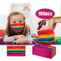 Mascarilla facial desechable para niños, máscara para niños de 3 capas con patrón de arco iris, filtro de higiene con elásticos, 100 Uds.
