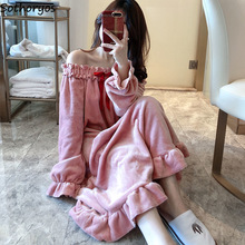 Nightgowns Women Mid-Long Velvet Round-Neck Loose Sweet Princess Coral Bow Pink Harajuku