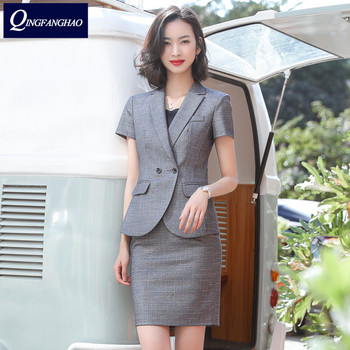2020 spring and summer skirt suit OL classic short-sleeved professional women's blazer  interview sales formal wear work suit formal work wear uniform styles professional spring summer business suit vest skirt ol blazers women skirt suits outfits sets