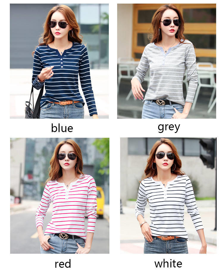 Ha63013c98dfd4d848c1235284428ee73T - Women T-Shirt Cotton Short Long Sleeve Lady T Shirt Striped Summer Spring Autumn Female Blusa White Plus Size Fashion Top Tee T0
