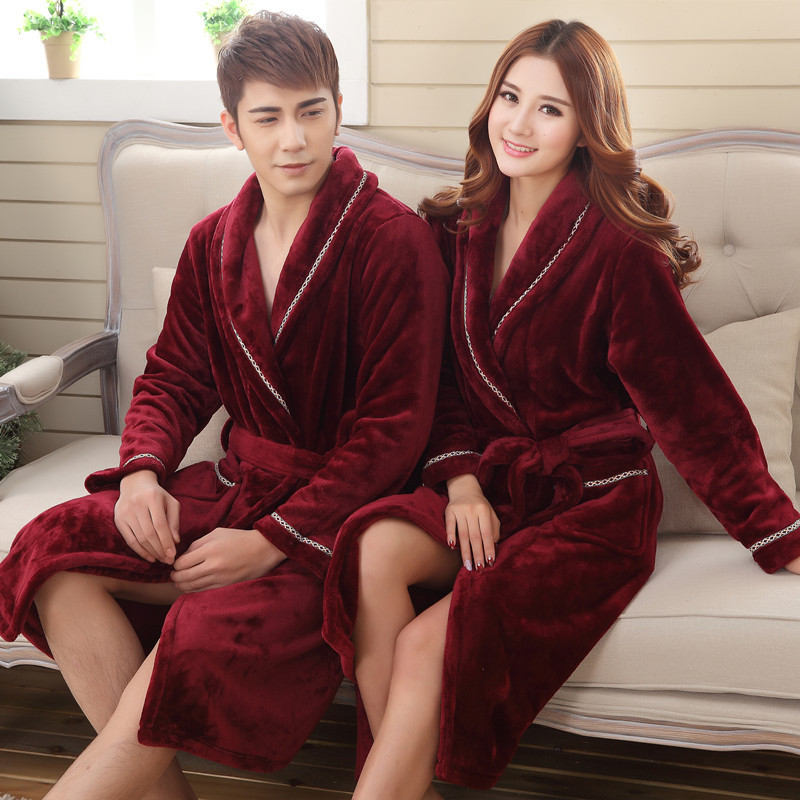 Men Winter Thick Warm Coral Fleece Bathrobe Women Kimono Flannel Nightgown Bath Robe Nightwear Gown Men Sleepwear M L XL XXL 3XL