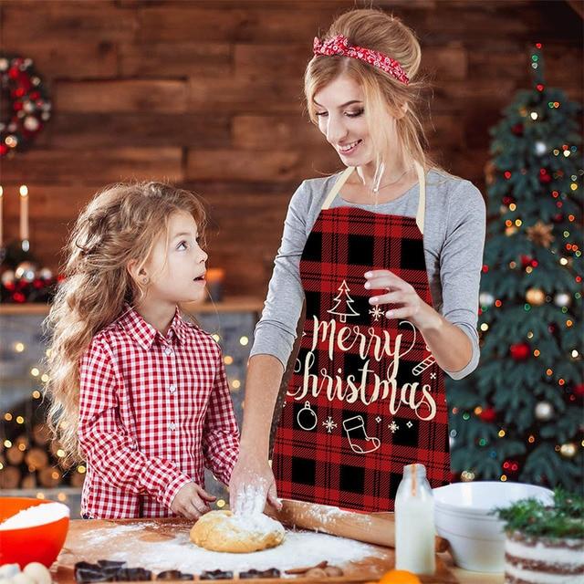 Linen merry christmas apron christ