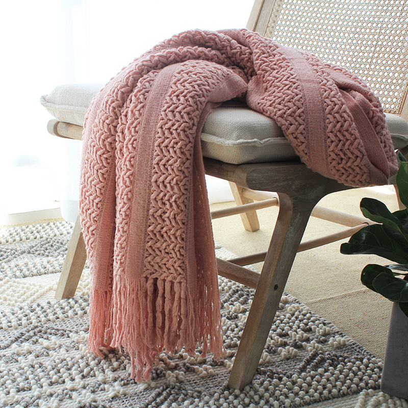 Battilo Solid Knit Mesh Tassels Throw Blanket Super Soft Warm Multi Color Sofa Throws