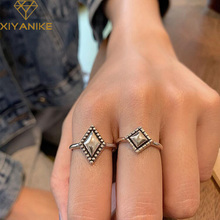 XIYANIKE 925 Sterling Silver NEW Geometric Diamond Square Rings Retro Distressed Fashion Open Female Handmade Couple Gift Кольцо