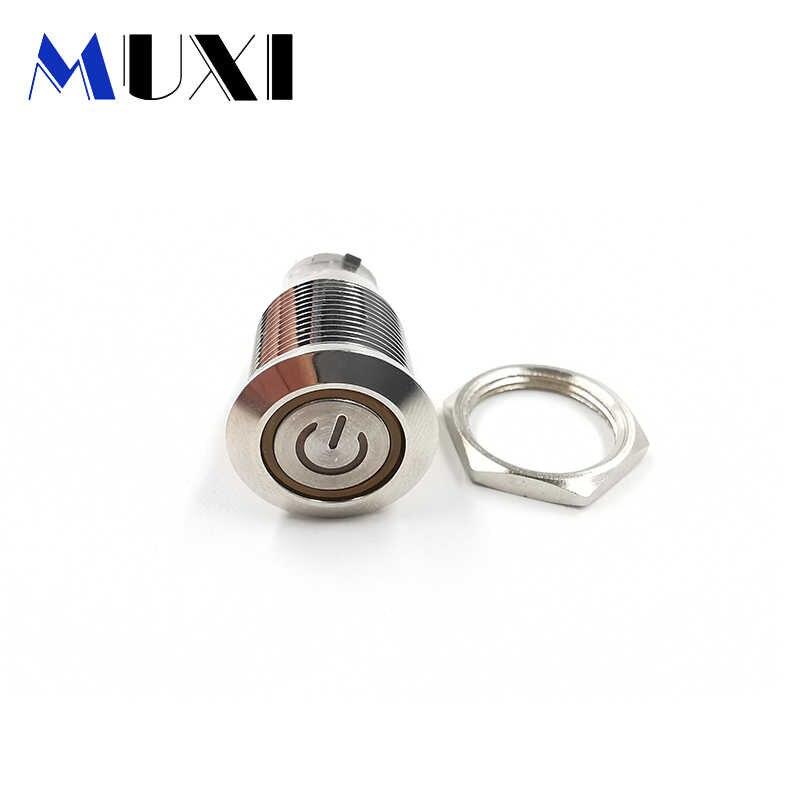 Interruptor de botón de Metal impermeable con autobloqueo de 16mm con luz LED 3 ~ 6V 12 ~ 24V 110V 220V rojo azul verde Amarillo Blanco