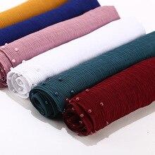 2020 neue Sommer Muslimischen Einfarbig Plain Plissee Perle Perlen Chiffon Hijab Schal Frauen Falten Crinkle Jersey Schals für Damen