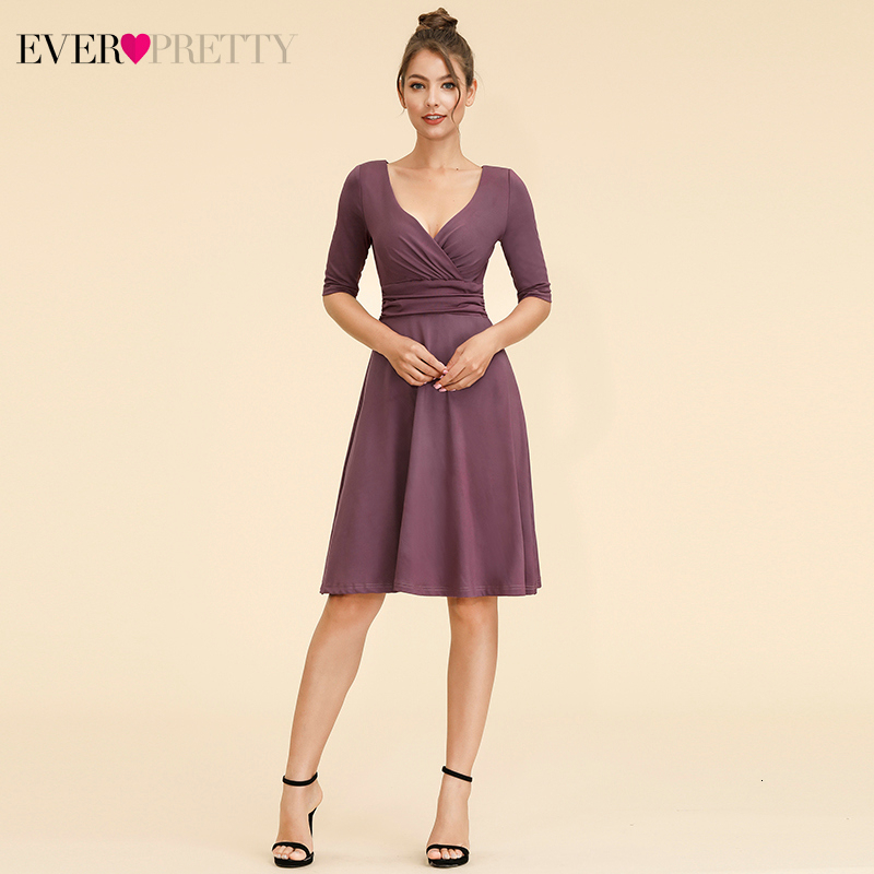 Elegant Homecoming Dresses Ever Pretty A-LIne V-Neck Half Sleeve Stretchy Knee-Length Simple Graduation Dresses Vestido Curto