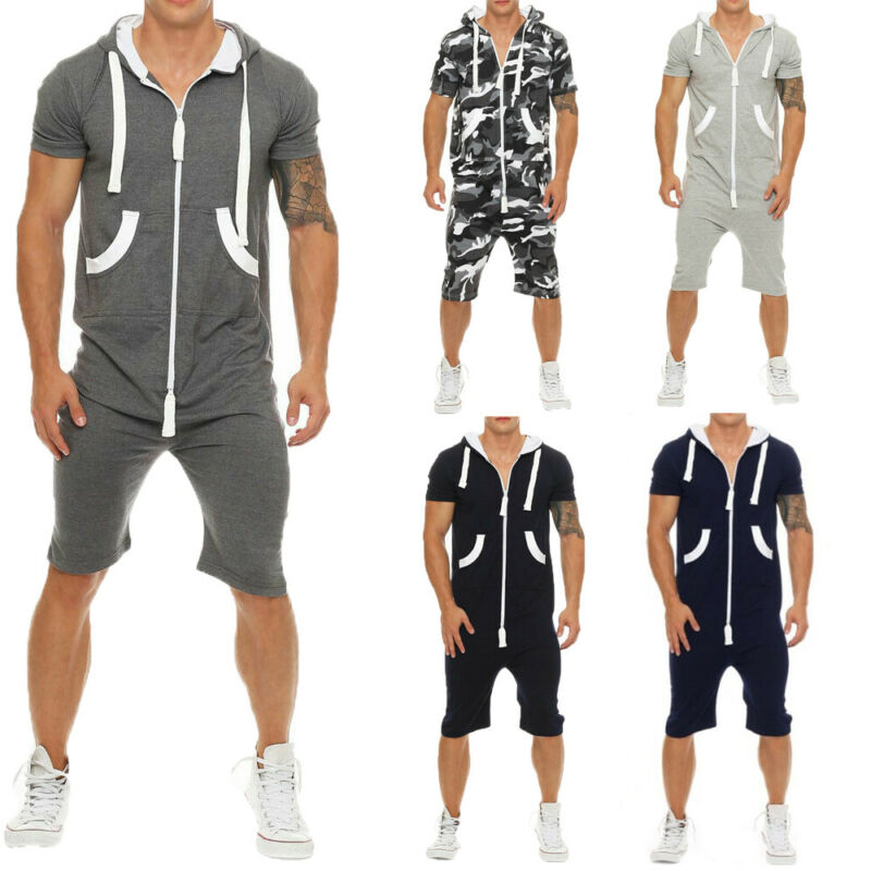 2020 HOT Selling Elegant Men Cotton Baggy Short Sleeve Pant One-Piece Suits Jumpsuit Playsuits Romper New Fashion