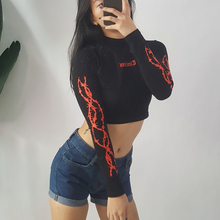 1pc Fashion Long Sleeve Gothic Letter Print Cropped t shirt 2019 Autumn Black Stand Collar Streetwear Crop Top T-shirt Tops