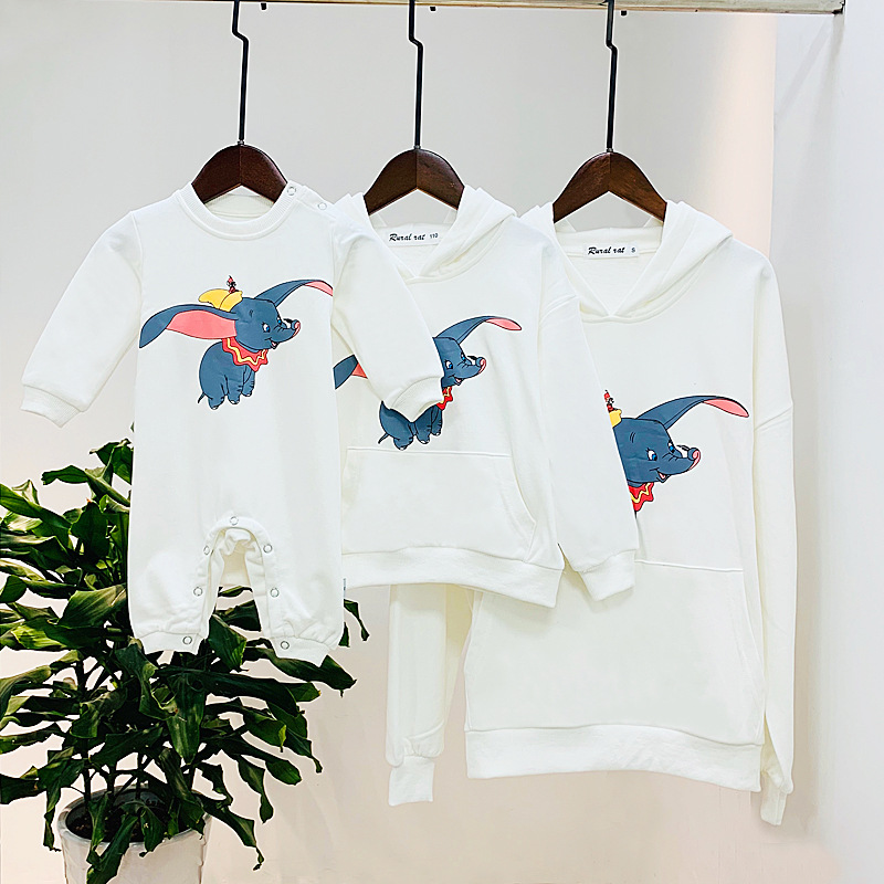 Dumbo Hoodie Family Matching Mommy Dad Me Clothes Mother Father Kids Mom Daughter Matching Clothes Mom Son Sweatshirt CL063