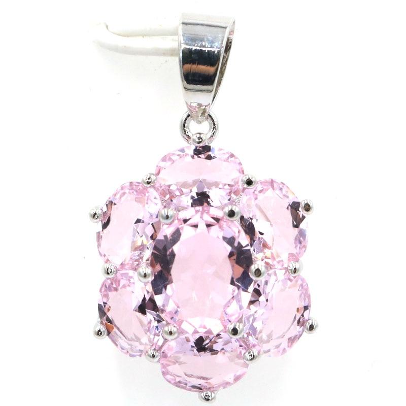 27x17 մմ SheCrown Hot Վաճառվում է Pink Kunzite կնոջ հարսանիքի 925 արծաթագույն կախազարդ