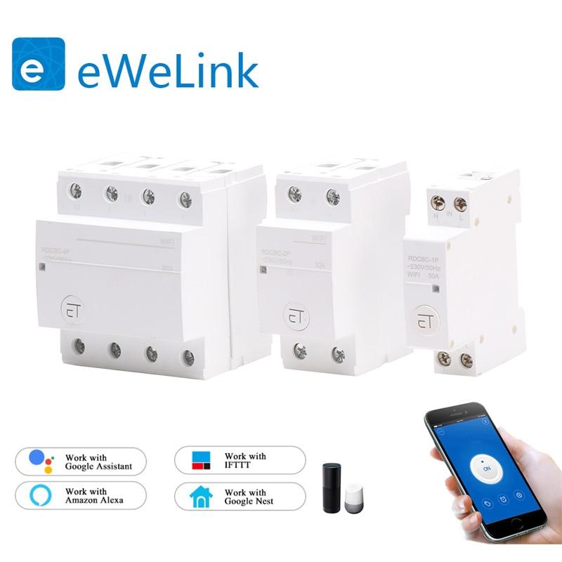 Пульт дистанционного управления eWelink WiFi, умный выключатель на din-рейке, совместим с Alexa и google home для умного дома