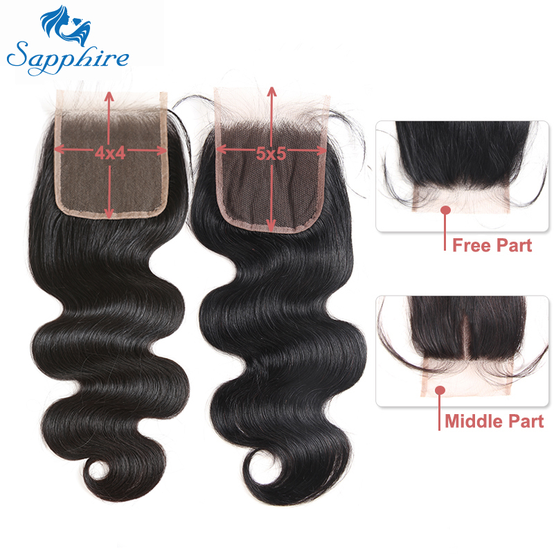 Sapphire 4×4 5×5 Lace Closure Body Wave Closure Remy Closures Human Hair Closure Brazilian Swiss Lace Frontal Closure