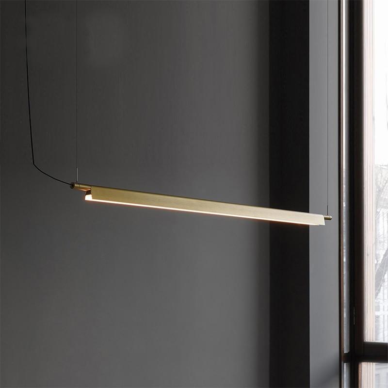 Linear LED Pendant Lamp Light Designer Suspension Hanging Cord Light Gold/black Bar Office Dinning Table LED Hanging Lamp Light