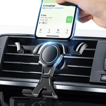 Gravity Reaction Car Mobile Phone Holder Clip Type Air Vent No Magnetic Mount GPS Car Smartphone Stand For iPhone Samsung Huawei image