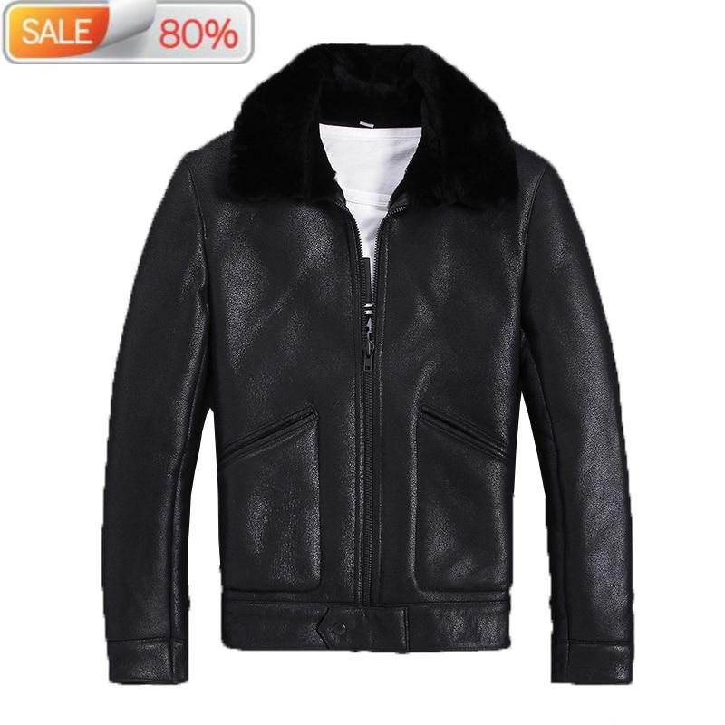 Genuine Sheepskin Jacket Men Autumn Winter Real Wool Fur Coat Bomber Shearling Leather Jackets M-S-N-7 B21315