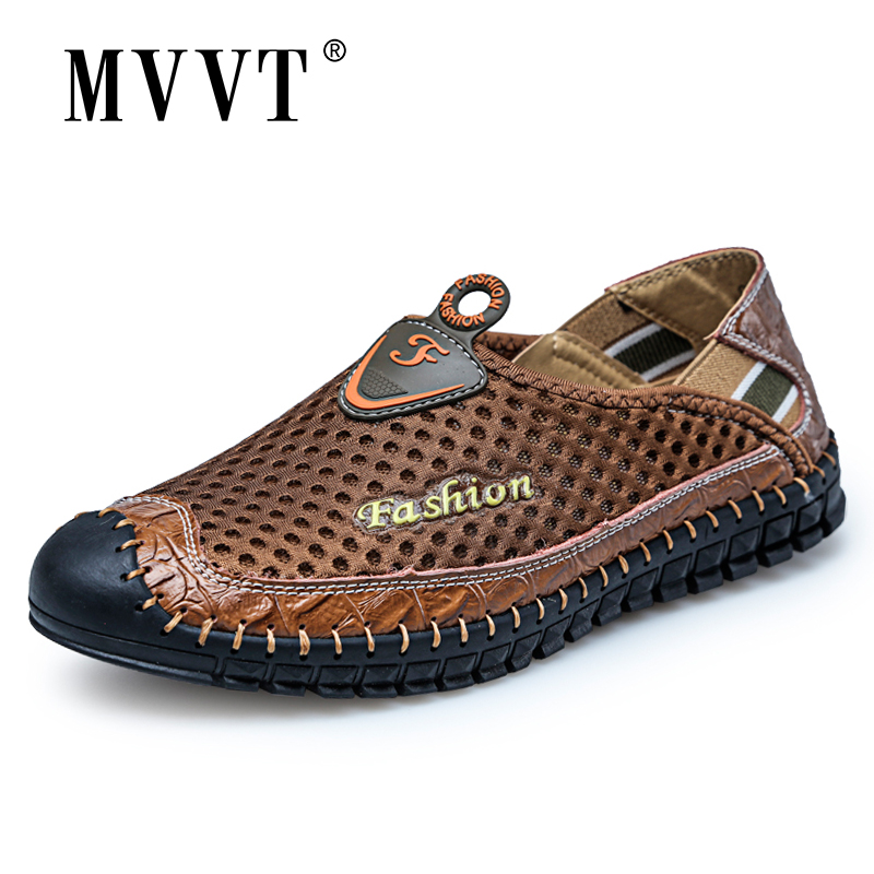 Outdoor Summer Men Shoes Casual Mesh Slip On Loafers Men Breathable Shoe Sturdy Sole Men Sneakers Light Shoes Men Waterproof
