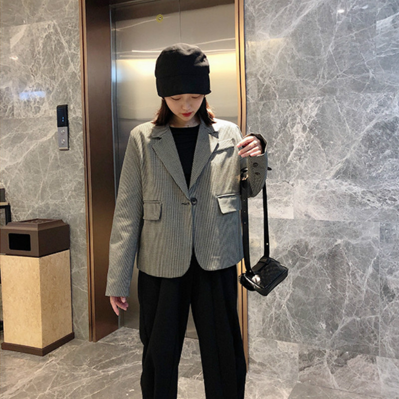 Casual Women's Jacket High Quality Suit Female Korean Version Of The Autumn Loose Plaid Ladies Short Blazer Office Jacket Suit