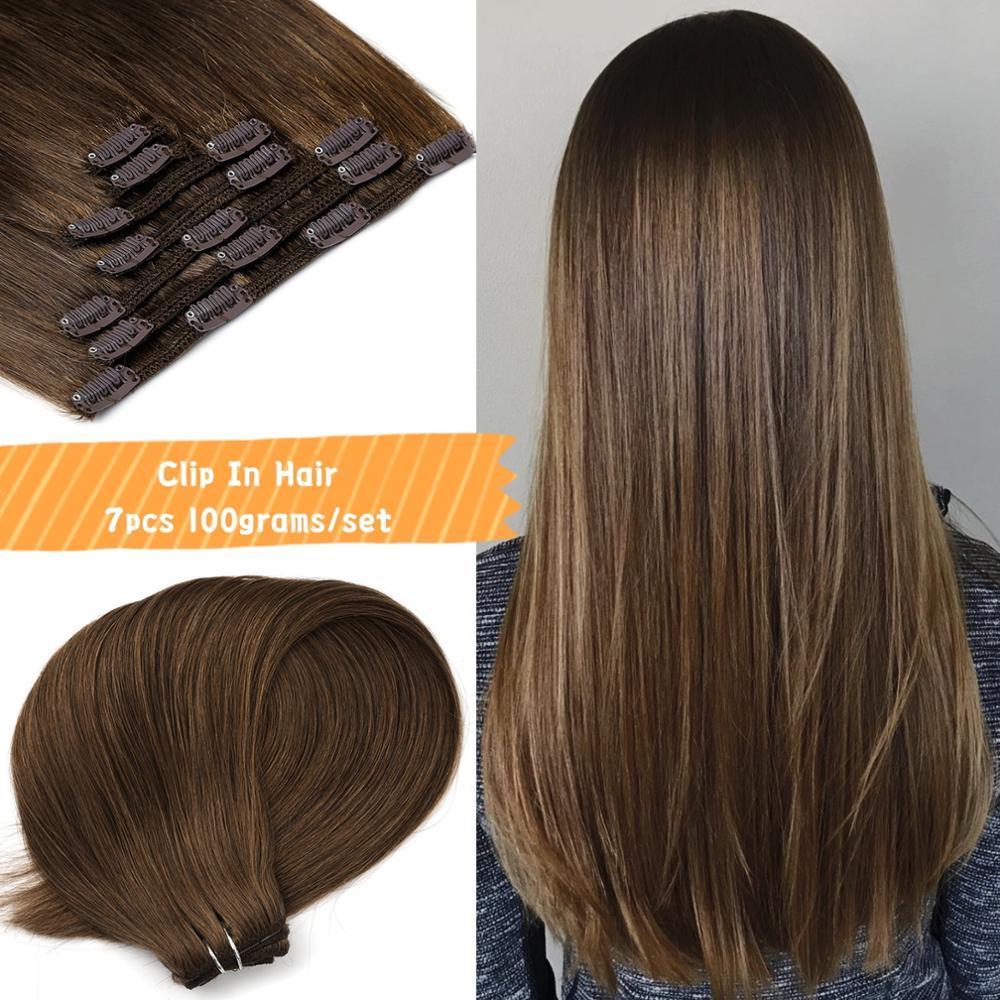 Машинка для наращивания волос Neitsi Remy, на клипсе, на всю голову, 100% прямые человеческие волосы для наращивания, 20 дюймов, 24 дюйма, 100 г, 7 шт., 16 кл...