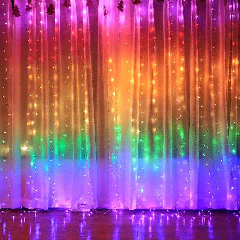 3m led usb luzes de fadas arco-íris guirlanda cortina lâmpada remoto luzes da corda ano novo decorações natal para casa decoração do quarto