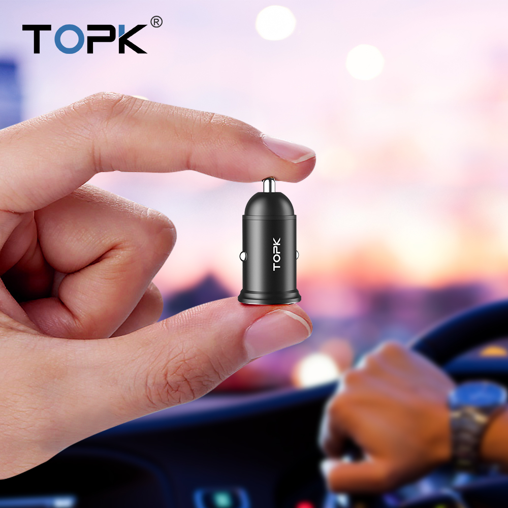 TOPK Mini Dual USB Car Charger  3.1A Fast Charger Adapter In Car For IPhone Samsung Xiaomi Mobile Phone