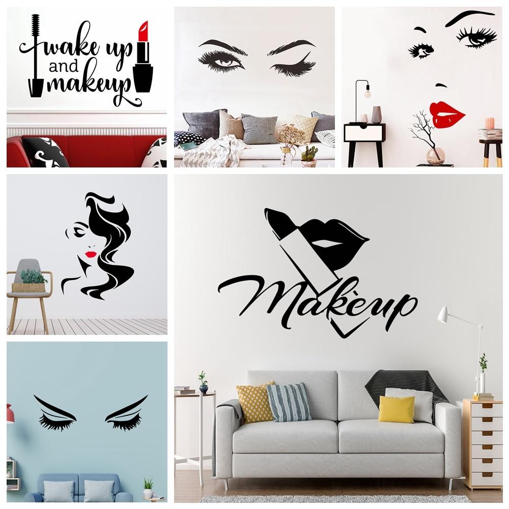 Beauty Salon Salon Lipstick Eyes Vinyl Wall Sticker Wallpaper For Beauty Salon Girls Bedroom Decor Mural Poster Quotes Make Up