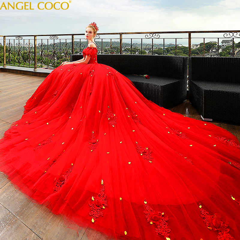 Real Photos Red Big Ball Gown Wedding Dresses 2020 Lace Wedding Gowns Bridal Bride Dress Mariage Vintage Vestido De Casamento
