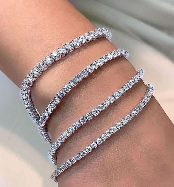 2021 New Fashion Luxury 925 Sterling Silver Tennis women's Bracelets Bangle For Women Christmas Gift Jewelry Wholesale S5877b 4