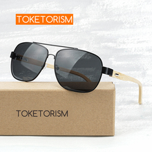 Toketorism pilot style black lenses metal frame bamboo sunglasses for men and women 1151 цена