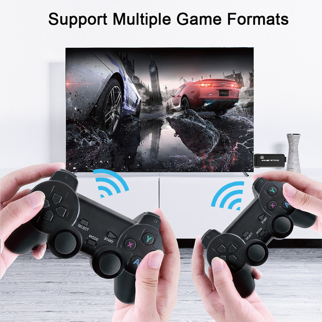 ITINFTEK Wireless Video Game Console 4K HD Display on TV Projector Monitor Classic Retro 10000 Games Double Controller Player 6