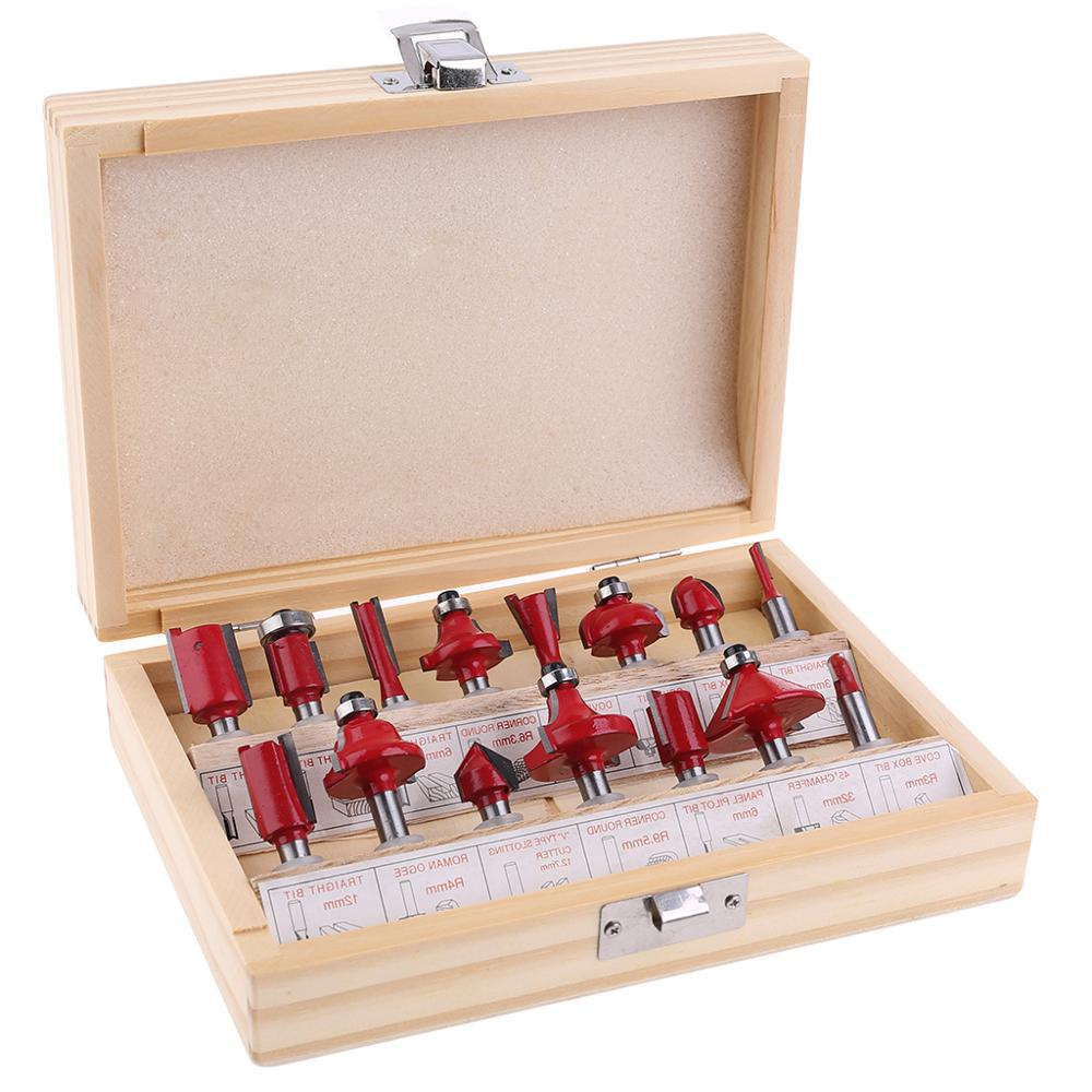15Pcs 1//4inch Shank Tungsten Carbide Router Bits Woodworking Milling Cutter Set