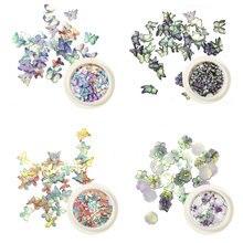 1 коробка блестки для ногтей с цветами и бабочкой