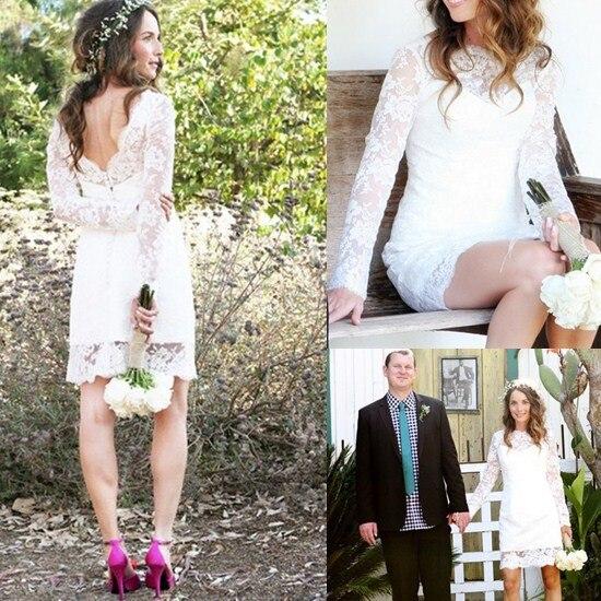Vestido De Noiva Com Renda 2015 Boho Style Fashion Knee-length Short Lace Wedding Dress With Long Sleeves