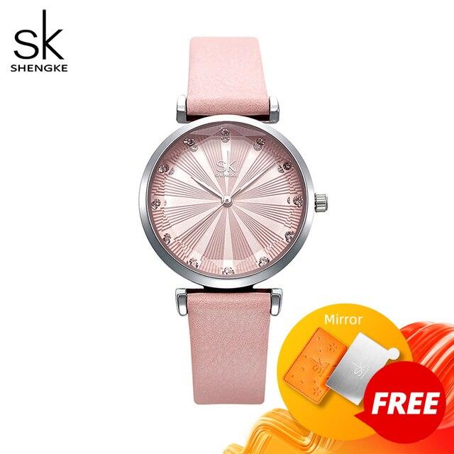 Shengke relojes de lujo para Mujer, Reloj femenino de cuero, a la moda, con diamantes Bayan Kol Saati, 2020