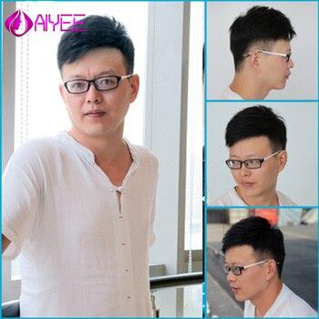 AIYEE 100% Hunman Haar männer Kurze Haare Männer Perücken, Hübsche Top Ersatz Filme, Kahle Stirn, männer Echt Haar Ersatz