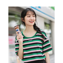 INMAN Summer O-neck Colorful Striped Korean Fashion Loose Casual All Matched Short Sleeves Women T-Shirt(China)