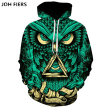 Casual 3D Hoodies Men Women 2019 Psychedelic Owl Print Hooded Sweatshirts Harajuku Hip Hop Streetwear Hoodie 6XL