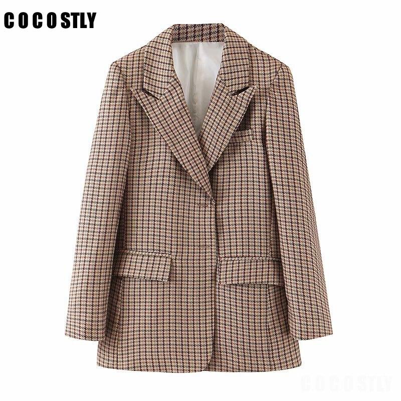 2019 Autumn Retro Lattice Suit Loose Coat Woman Suit Jacket Casual Blazer Female Tops Vintage Outerwear Plaids Coat