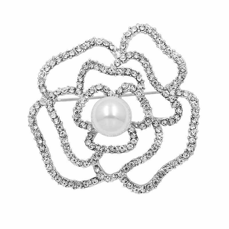 Camelia di Lusso di Marca di stile di gioielli fiori Risvolto Spilli 5 perle Spille fiore Broche Spiedi Gioielli per le Donne