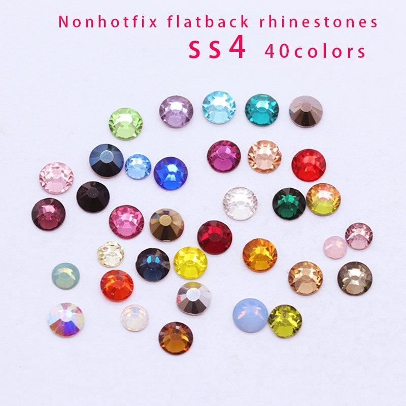 Diamantes de imitación para manicura, joya sin adhesivo, decoración de uñas, tarjetas de boda, piedra de cristal, 144/1440p ss4, 44 colores