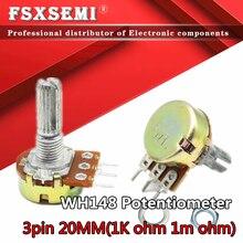 5 шт., усилитель WH148, B1K, B2K, B5K, B10K, B20K, B50K, B100K, B500K, 3 контакта, 20 мм, двойной стерео потенциометр 1K, 2K, 5K, 10K, 50K, 100K, 1M