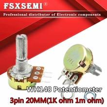 5pcs WH148 B1K B2K B5K B10K B20K B50K B100K B500K 3Pin 20mm Amplificador Dupla Stereo Potenciômetros Do Eixo 50 10 5 2 1K K K K K 100K 1M