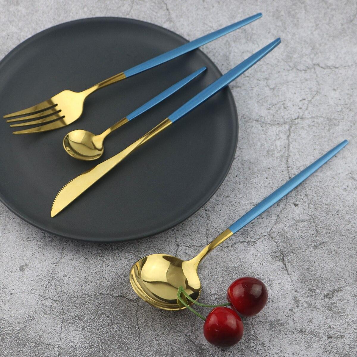 Juego de vajilla de cocina de alta calidad de color azul dorado, juego de cubiertos de acero inoxidable 18/10, juego de vajilla, tenedor para postre, cuchara para té, juego de platería Juegos de vajilla    - AliExpress