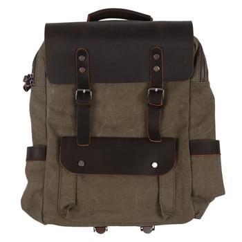 Vintage Canvas Leather Backpacks for Men 14 Inch Laptop Daypacks Waterproof Canvas Rucksacks Large Waxed Travel Back Packs