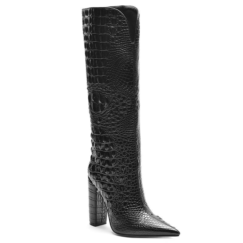 2020 Brand Boots Faux Crocodile Leather