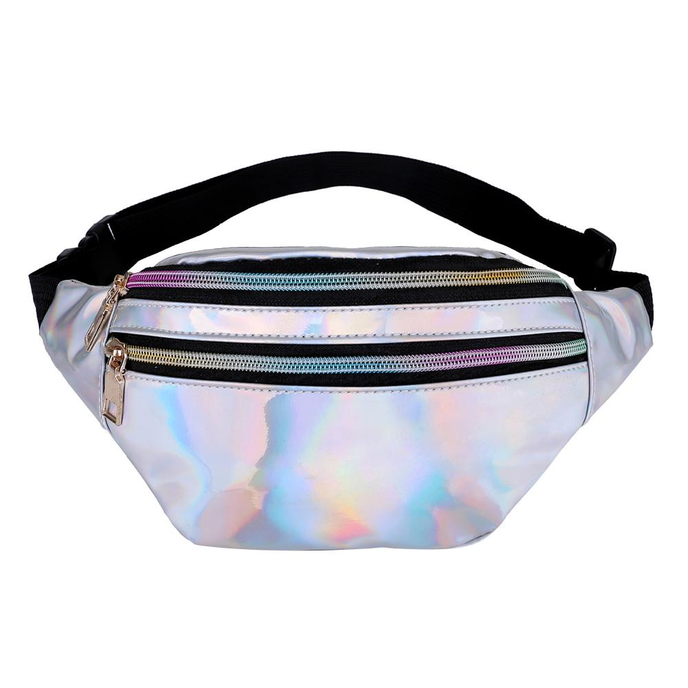 Fashion Glossy  Zipper Waist Pack Adjustable Strap Woman Corssbody Bag