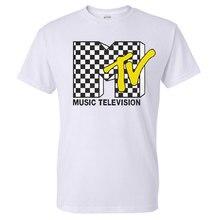 Popular Mens Shirt MTV with Checkerboard Pattern Print Mens 1980's Clothing I Want My MTV T-Shirt