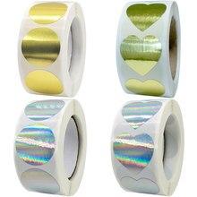 Holográfico arco-íris metálico prata coração adesivos etiquetas à prova dwaterproof água scrapbooking pequeno negócio casa em linha pacote de vendas selos